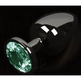 Графитовая анальная пробка с зеленым кристаллом - 6 см.